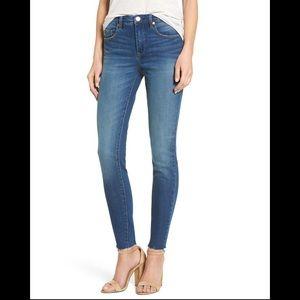 Blank NYC raw hem medium wash mid rise skinny jean